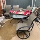 Patio Table, 4 Chairs & Umbrella