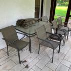 Patio Table, 6 Chairs, Umbrella & Umbrella Stand