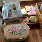 Sewing Notions, Recipe Cards, Vases