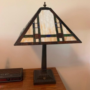 International Harvester stained glass lamp