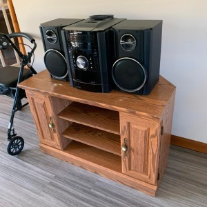 Small corner entertainment stand, Sharp component stereo