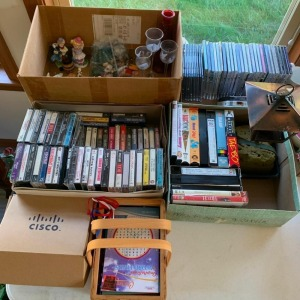 CD's, cassettes, figurines (in box)
