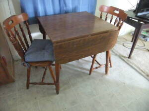 Dining Room Drop Leaf Table & 2 Chairs
