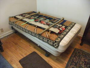 Twin Bed Frame, Headboard, Contents