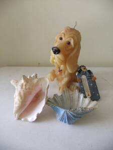 Shells, Dog Candle, Snowman Thermometer