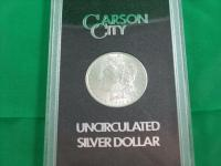 1882 CC Morgan Dollar in black display case