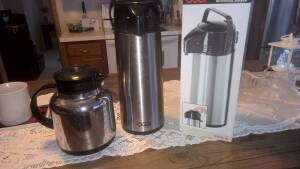 OGGI Pump Master Beverage Server 1.9 Lt (64oz} almost new & Mr. Coffee Coffee/Tea pot Thermos not almost new but fully functional.